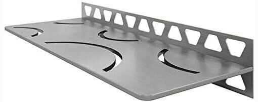 Schluter Rectangular Wall Shelf-W Curve Brushed Stainless Steel SWS1D6EB