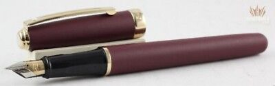 SHEAFFER PRELUDE 348 MATTE BURGUNDY WITH GOLD TRIM FOUNTAIN PEN SUPERB AWESOME !