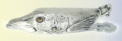 Document Clip - Head Of An English Pike Fish - Silver Plated Paper Clip