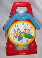 PRESCHOOL FISHER PRICE VINTAGE MUSICAL CLOCK # 5706 HORLOGE