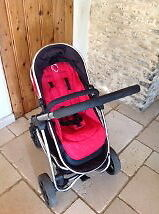 iCandy strawberry travel system inc pram and pushchair unit, pomegranate red. Immaculate condition