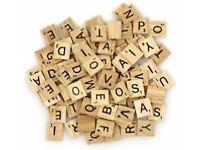 Wooden scrabble letter squares