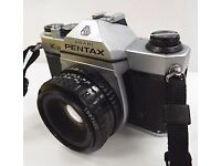 Pentax K1000 35mm SLR camera with 50mm f 2 lens and case