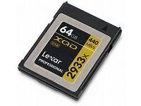 3 Lexar 2933x XQD Memory cards. 1x64gb 2x32gb