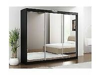 🟡💛 Lux 250 cm Full Sliding Mirror Door Wardrobe in Black and White Color-- Same Day Delivery🟡💛