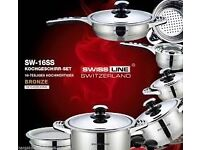 pots and pans - SW-16SS SWISSLINE SWITZERLAND 16PC QUALITY STAINLESS STEEL COOK