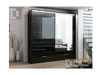 DESIGNER FURNITURE - MARSYLIA 2&3 SLIDING DOOR WARDROBE w LED LIGHTS- SAME DAY DELIVERY