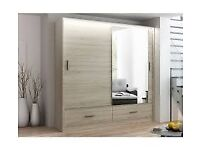SALE ON FURNITURE - MARSYLIA 2&3 SLIDING DOOR WARDROBE w LED LIGHTS- SAME DAY DELIVERY