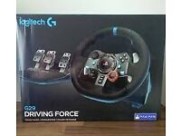 Logitech G29 steering wheel, pedals and shifter