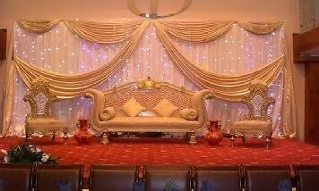 Wedding Stage Decor Rental 299 Gold sofa hire 199 Head Table