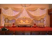 King and Queen Throne Chair Hire £199 Wedding Cutlery Hire 20p Gold Charger Plate Reception Backdrop