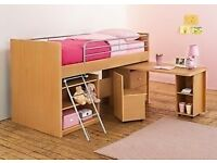 CABIN BED WITH DESK CHAIR AND STORAGE