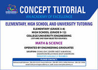 Concept Tutorial:Grade 3–Grade 12(Math & Science)//Home Tutoring