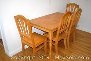 Country Style Solid Wood Table and 4 Oak Chairs C