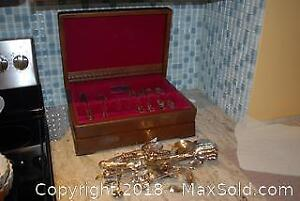Silver Plated Flatware Case and Servers A
