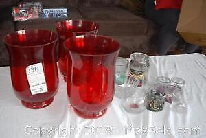 Candleholders and 3 Hurricane Lamp Covers A