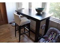 Henriksdal Ikea bar table + 6 chairs