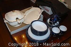 Denby Dish Set and Lidded Soup Tureen with Plate and Ladle A