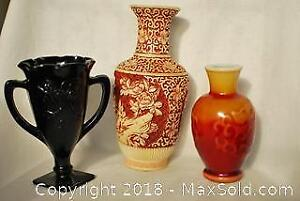 Lot of 3 ornate vintage Chinese vases.