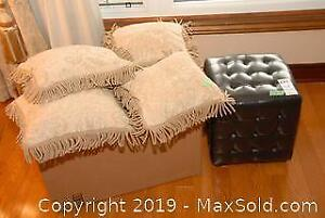 4 Designer Pillows and Faux Leather Ottoman A