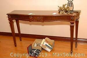 Decoratively Carved Wooden Sofa Table C