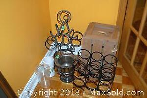 2 Metal Wine Racks Wooden Beer Crate and More A