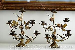 Pair of French Antique Brass Candelabras