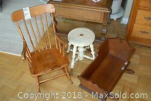 Antique Cradle Childrens Rocker and Stand A
