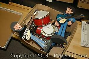 Hand Carved Beatles Characters with Instruments A