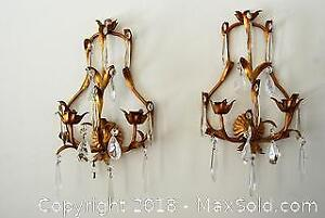 Pair French Brass/Glass Wall Scones