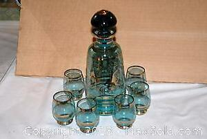 Decorative Decanter And 6 Glasses B
