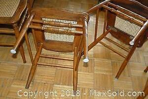 4 Antique Press Back Pine Chairs B