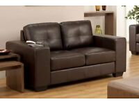 Designer Brown Leather Sofa, Durban 2 Seater