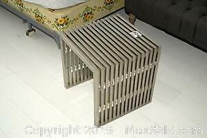 Metal Slatted Side Table A