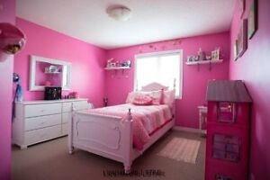 Girls twin white princess bed with mattress & box spring