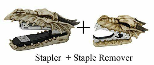 Novelty Skull Dragon Stapler and Stapler Remover Office Desktop Stationery Set