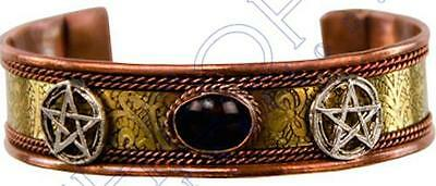Copper Magnetic Bracelet with Pentagram Symbols and Black Tourmaline Stone!