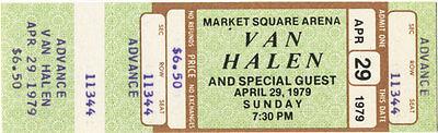 Van Halen Unused Concert Ticket April 29, 1979 (Advance)