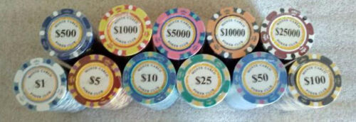 1000 poker chips Monte Carlo 14 gram choice of 11 denominations