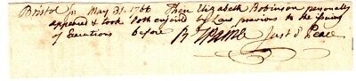 Robert Treat Paine, Declaration of Independence , hand written and signed note