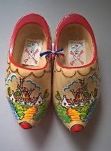 Wooden Dutch Clogs / Shoes with Windmill & River - Holland