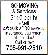 GO Moving & Services 705-991-2510