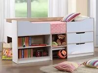 Cabin bed for sale in good condition white with shelves