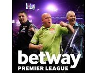 2/4- Premier League Darts- great seats 9/3- Glasgow