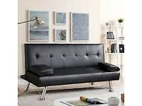 Black faux leather sofa bed. Now only £30. Norwood