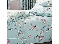 Beautiful Birds Duck-Egg Bed Linen Set, one little girl owner, excellent condition