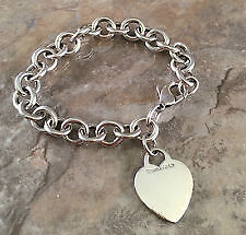 "LOST TIFFANY SILVER BRACELET W/A HEART CHARM ENGR WITH A ""J"""