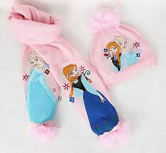 2014 Écharpe Frozen, 2pcs Hat Set / enfants Snow Queen.