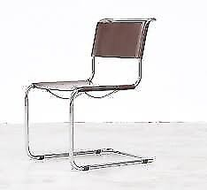 Beautiful Cantelever Chair by Mart Stam (S33 1926) Chair in Chocolate Brown Leather and Chrome Frame