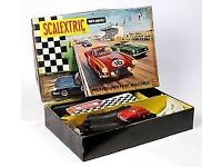 wanted old 1960s scalextric cars and sets